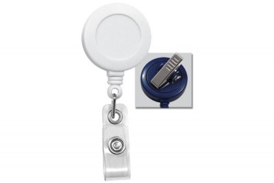 White Badge Reel w/ Clear Vinyl Strap & Swivel Spring Clip (25/Pkg)