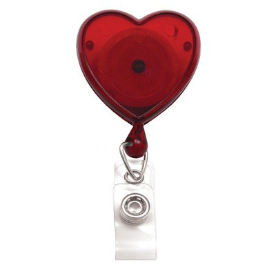 Translucent Red Badge Reel w/ Clear Vinyl Strap & Swivel Spring Clip (25/Pkg)