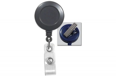 Gray Badge Reel w/ Clear Vinyl Strap & Swivel Spring Clip (25/Pkg)