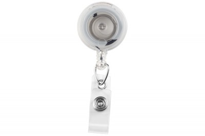 Translucent Clear Badge Reel w/ Clear Vinyl Strap & Swivel Spring Clip (25/Pkg)
