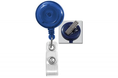 Translucent Blue Badge Reel w/ Clear Vinyl Strap & Swivel Spring Clip (25/Pkg)