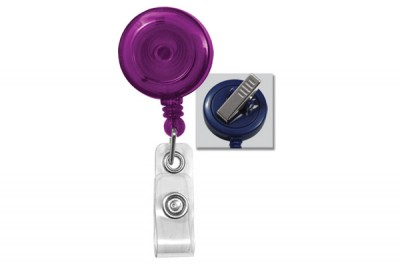 Translucent Purple Badge Reel w/ Clear Vinyl Strap & Swivel Spring Clip (25/Pkg)