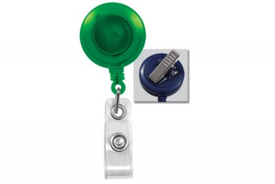 Translucent Green Badge Reel w/ Clear Vinyl Strap & Swivel Spring Clip (25/Pkg)