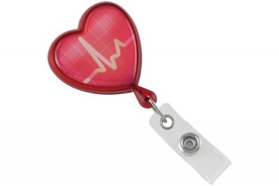 Translucent Red EKG Themed Heart Shaped Reel (25/Pkg)