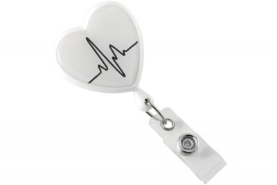 White EKG Themed Heart Shaped Reel (25/Pkg)