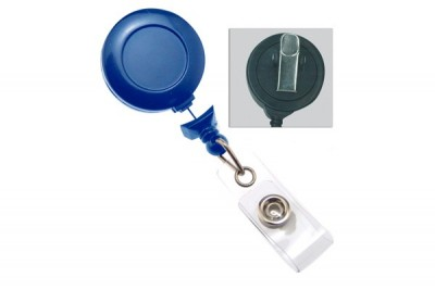 Navy Blue Badge Reel w/ Clear Vinyl Strap & Swivel Spring Clip (25/Pkg)