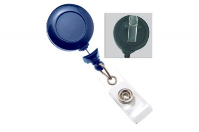Royal Blue Badge Reel w/ Clear Vinyl Strap & Swivel Spring Clip (25/Pkg)