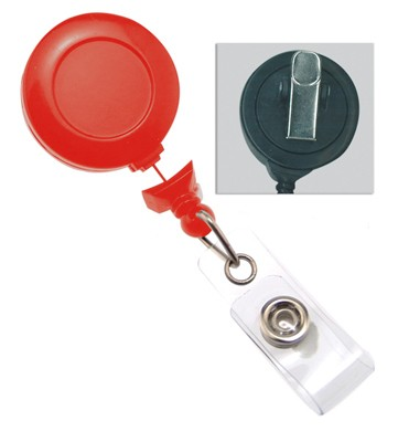 Red Badge Reel w/ Clear Vinyl Strap & Swivel Spring Clip (25/Pkg)