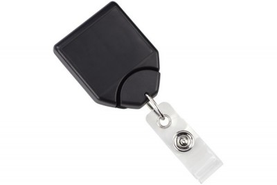 Black B-REEL Badge Reel w/ swivel-clip w/ teeth (25/Pkg)