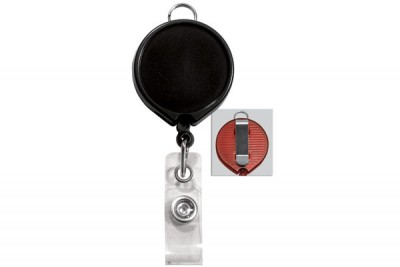 Black Badge Reel w/ Clear Vinyl Strap & Belt Clip (25/Pkg)