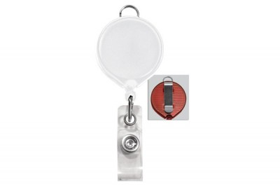 White Badge Reel w/ Clear Vinyl Strap & Belt Clip (25/Pkg)