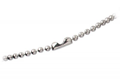 "Nickel-Plated Steel Beaded Neck Chain Length 30"" (762mm) (100/Pkg)"