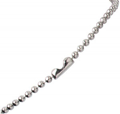 "Nickel-Plated Steel Beaded Neck Chain, Length 24"" (609mm) (100/Pkg)"