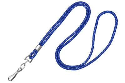 Royal Blue Silver Metallic Lanyard (100/Pkg)