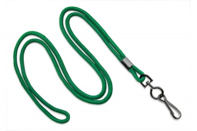 "Green Round 1/8"" (3 mm) Lanyard w/ Black-Oxidized Swivel Hook (1000/Pkg)"