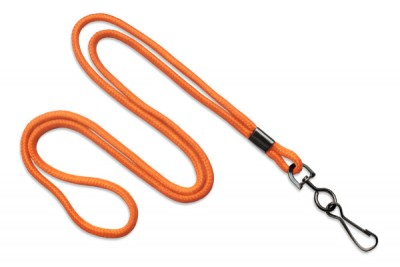 "Orange Round 1/8"" (3 mm) Lanyard w/ Black-Oxidized Swivel Hook (1000/Pkg)"