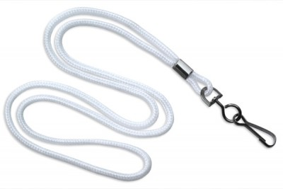"White Round 1/8"" (3 mm) Lanyard w/ Black-Oxidized Swivel Hook (1000/Pkg)"