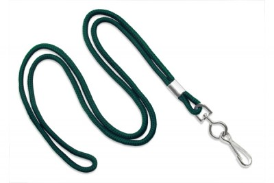 "Forest Green Round 1/8"" (3 mm) Lanyard w/ Black-Oxidized Swivel Hook (1000/Pkg)"