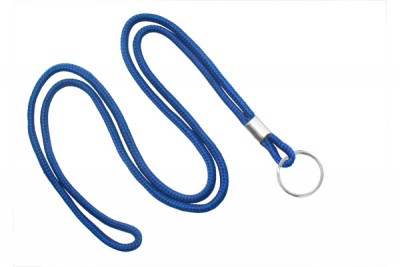 "Royal Blue Round 1/8"" (3 mm) Lanyard w/ Nickel Plated Steel Split Ring (100/Pkg)"