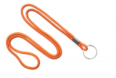 "Orange Round 1/8"" (3 mm) Lanyard w/ Nickel Plated Steel Split Ring (100/Pkg)"