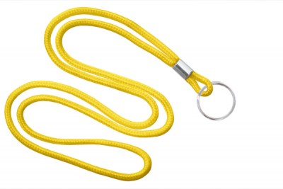 "Yellow Round 1/8"" (3 mm) Lanyard w/ Nickel Plated Steel Split Ring (100/Pkg)"