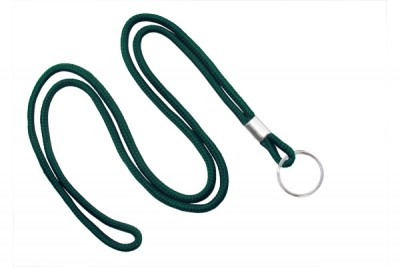 "Forest Green Round 1/8"" (3 mm) Lanyard w/ Nickel Plated Steel Split Ring (100/Pkg)"