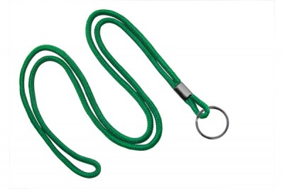 "Green Round 1/8"" (3 mm) Lanyard w/ Black-Oxidized Split Ring (1000/Pkg)"
