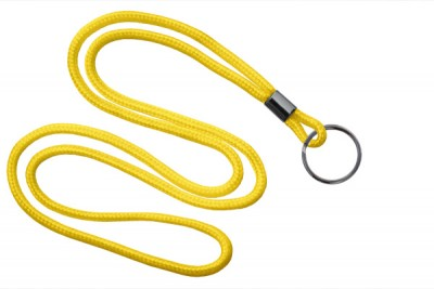 "Yellow Round 1/8"" (3 mm) Lanyard w/ Black-Oxidized Split Ring (1000/Pkg)"