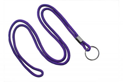 "Purple Round 1/8"" (3 mm) Lanyard w/ Black-Oxidized Split Ring (1000/Pkg)"