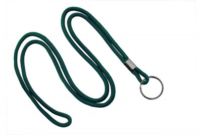 "Forest Green Round 1/8"" (3 mm) Lanyard w/ Black-Oxidized Split Ring (1000/Pkg)"