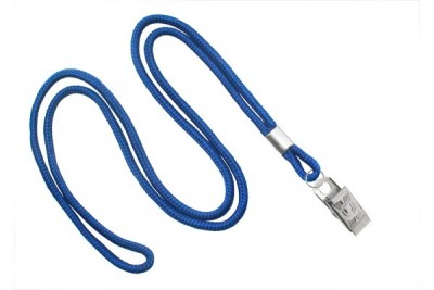 "Royal Blue Round 1/8"" (3 mm) Lanyard w/ Nickel-Plated Steel Bulldog Clip (100/Pkg)"