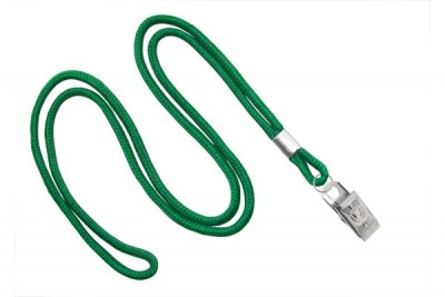 "Green Round 1/8"" (3 mm) Lanyard w/ Nickel-Plated Steel Bulldog Clip (100/Pkg)"