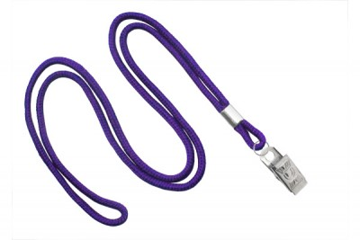 "Purple Round 1/8"" (3 mm) Lanyard w/ Nickel-Plated Steel Bulldog Clip (100/Pkg)"