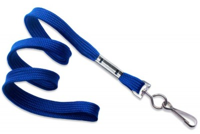 "Royal Blue Lanyard 3/8"" (10 mm) w/ Nickel-Plated Steel Swivel Hook (100/Pkg)"