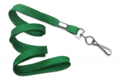 "3/8"" (10 mm) Green Lanyard w/ Nickel-Plated Steel Swivel Hook (100/Pkg)"