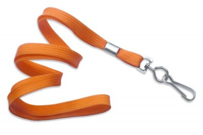 "3/8"" (10 mm) Orange Lanyard w/ Nickel-Plated Steel Swivel Hook (100/Pkg)"