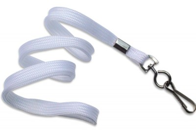 "3/8"" (10 mm) White Lanyard w/ Nickel-Plated Steel Swivel Hook (100/Pkg)"