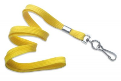 "3/8"" (10 mm) Yellow Lanyard w/ Nickel-Plated Steel Swivel Hook (100/Pkg)"