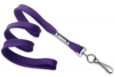 "Purple Lanyard 3/8"" (10 mm) w/ Nickel-Plated Steel Swivel Hook (100/Pkg)"