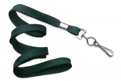 "3/8"" (10 mm) Forest Green Lanyard w/ Nickel-Plated Steel Swivel Hook (100/Pkg)"