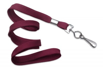"3/8"" (10 mm) Maroon Lanyard w/ Nickel-Plated Steel Swivel Hook (100/Pkg)"