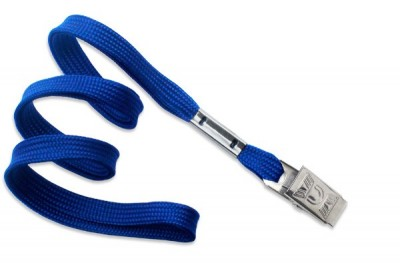 "Royal Blue Lanyard 3/8"" (10 mm) w/ Nickel-Plated Steel Bulldog Clip (100/Pkg)"