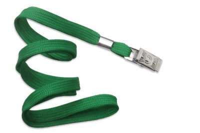 "3/8"" (10 mm) Green Lanyard w/ Nickel-Plated Steel Bulldog Clip (100/Pkg)"