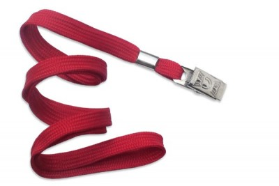 "Red Lanyard 3/8"" (10 mm) w/ Nickel-Plated Steel Bulldog Clip (100/Pkg)"
