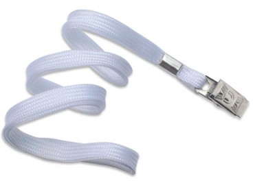 "3/8"" (10 mm) White Lanyard w/ Nickel-Plated Steel Bulldog Clip (100/Pkg)"