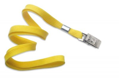 "3/8"" (10 mm) Yellow Lanyard w/ Nickel-Plated Steel Bulldog Clip (100/Pkg)"