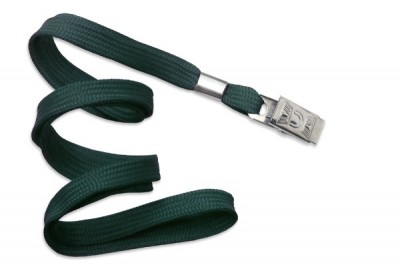 "3/8"" (10 mm) Forest Green Lanyard w/ Nickel-Plated Steel Bulldog Clip (100/Pkg)"