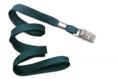 "3/8"" (10 mm) Teal Lanyard w/ Nickel-Plated Steel Bulldog Clip (100/Pkg)"