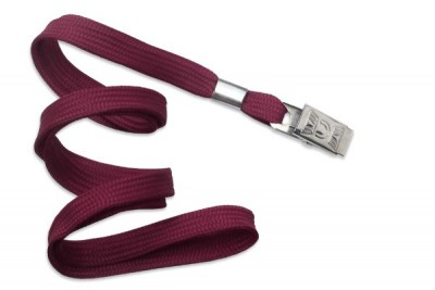 "3/8"" (10 mm) Maroon Lanyard w/ Nickel-Plated Steel Bulldog Clip (100/Pkg)"