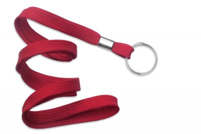 "Red 3/8"" (10 mm) Lanyard w/ Nickel-Plated Steel Split Ring (100/Pkg)"